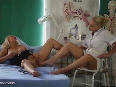 Hot busty Milf gets amazing toe fucking pussy treatment from leggy blonde nurse