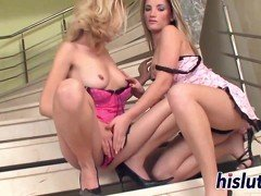 Two stunning playgirls pleasure their wet snatches
