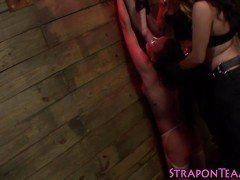 Shackled lesbo sub toyed