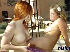 Naughty lesbian fun with two delicious starlets