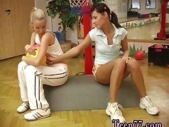Big tit brunette milf dildo Cindy and Amber boning each other in the gym