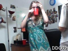 Skinny chick deepthroats dildo during lesbian party