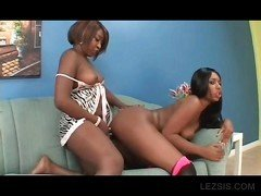 Lesbo ebony GF cunt licked and strapon fucked