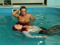 Lesbians get swimming pool soaked