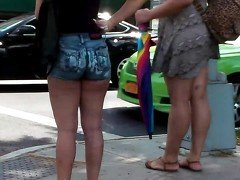 Short Latina In Tight Short Shorts & Flip Flops