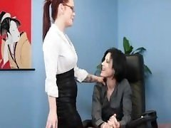 Office Redhead Emo Lesbian sex with Brunette tattoo babe