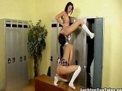 Two hot lesbian teens make out in the locker room