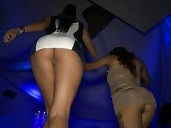 Night club sex scene featuring several busty ladies